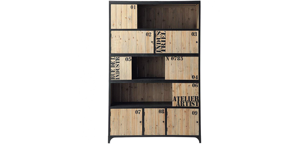biblioth que vieillie vintage acier industriel et bois atelier artist pas cher. Black Bedroom Furniture Sets. Home Design Ideas