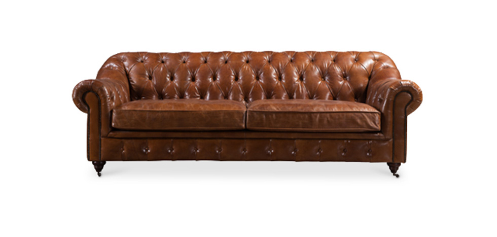 Canap style chesterfield 3 places en cuir marron pas cher for Canape chesterfield cuir pas cher