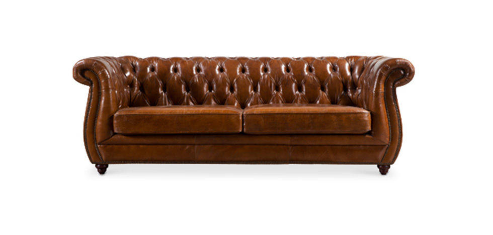 Canap chesterfield style vintage en cuir marron okly for Canape chesterfield cuir pas cher