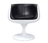Cognac Chair - Eero Aarnio style - Premium Leather - White Shell