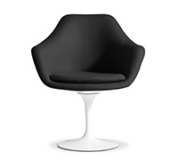 Tulip Armchair - Eero Saarinen style - Faux Leather - Shell White - Fiberglass