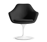Tulip Armchair - Eero Saarinen style - Premium Leather - Shell White - Fiberglass