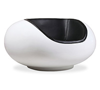 Pastil Chair Eero Aarnio style - White Fiberglass - Faux Leather