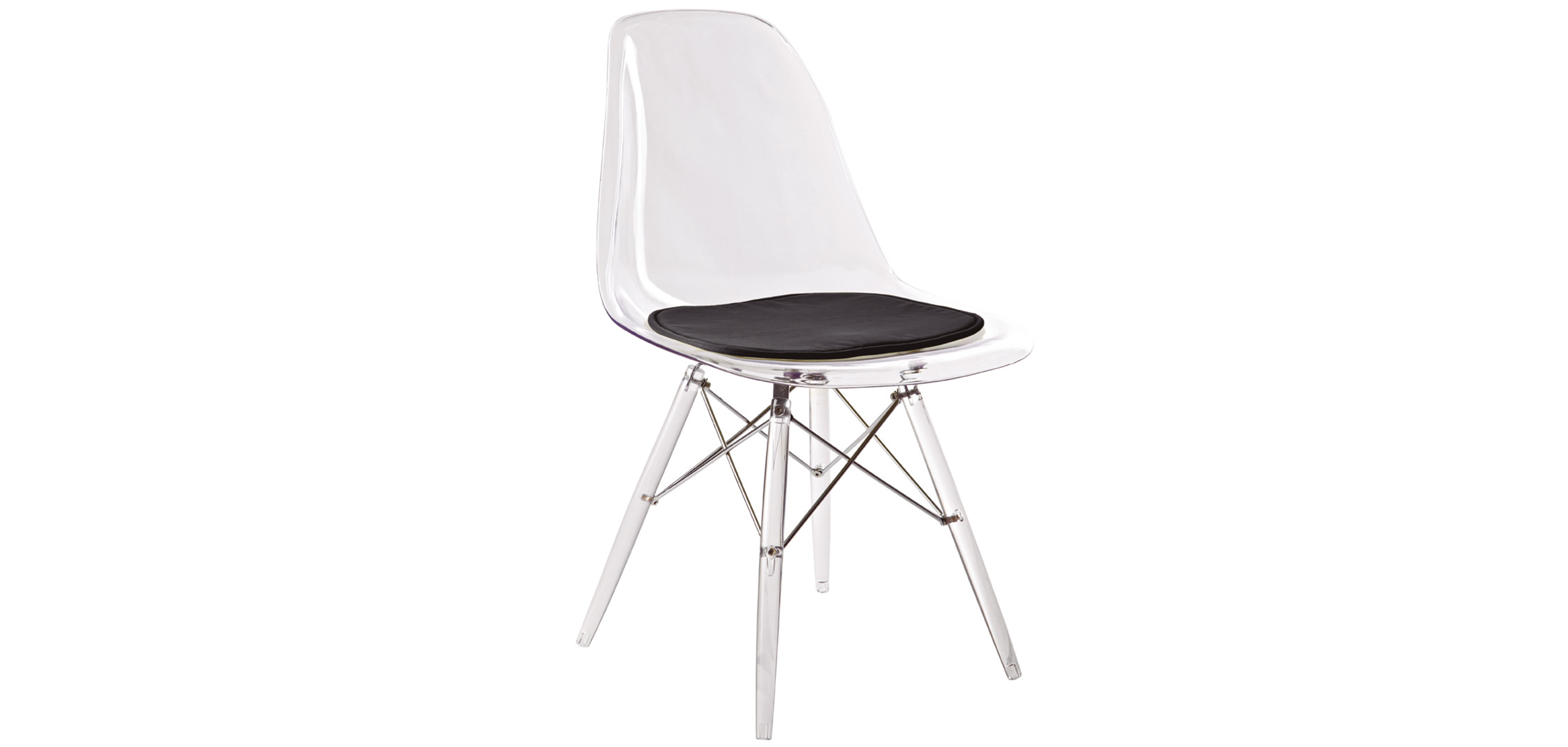Chaise geneva pi tement transparent polycarbonate pas cher for Galette chaise eames dsw