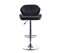 Swivel Chromed Metal Backrest Bar Stool - Height Adjustable