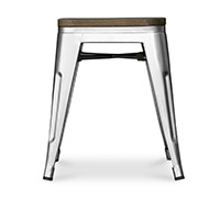 Tolix Stool 45cm with wooden seat Xavier Pauchard Style - Metal