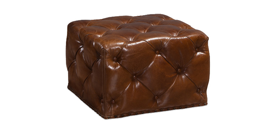 pouf carr style vintage en cuir marron pas cher. Black Bedroom Furniture Sets. Home Design Ideas
