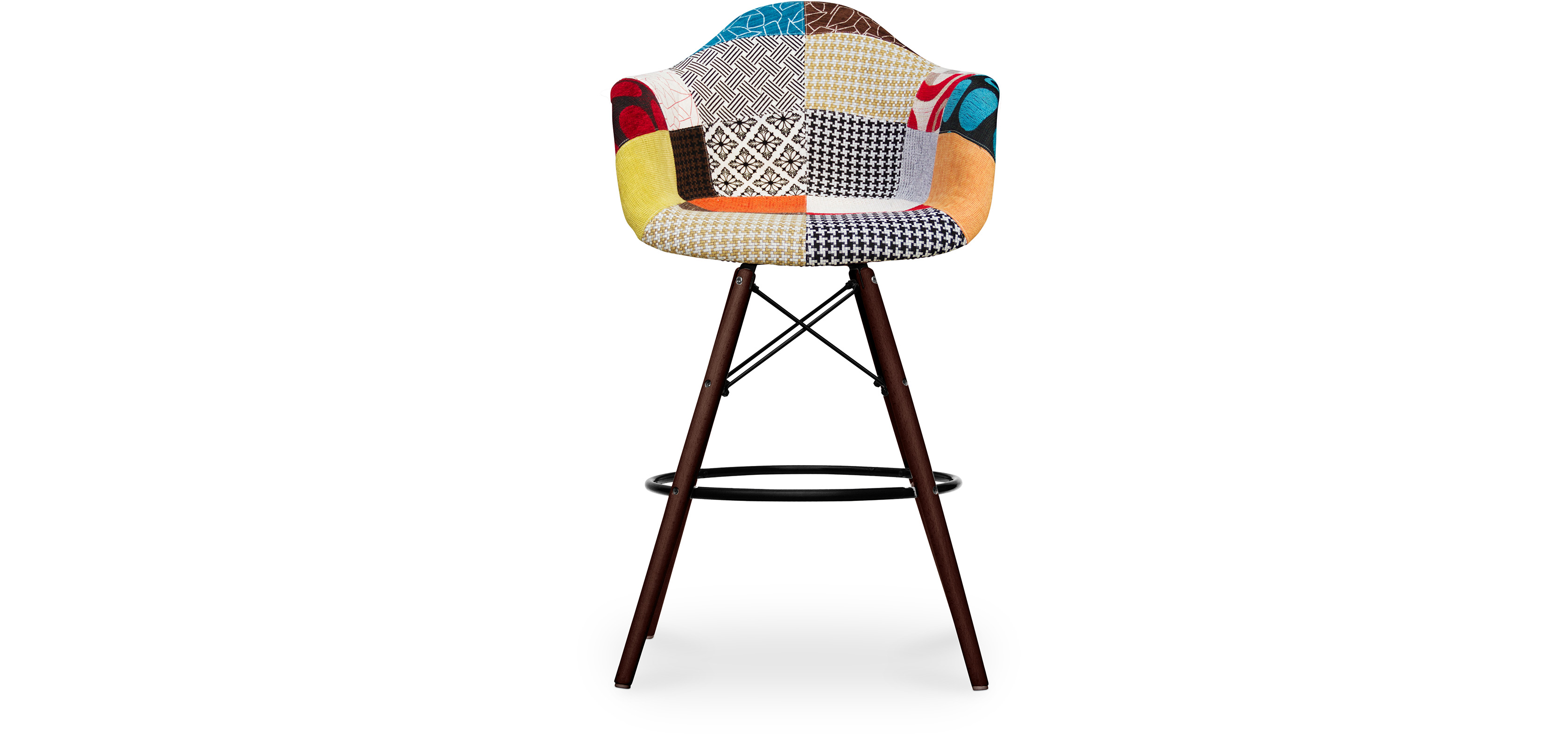 tabouret de bar darwin pi tement fonc patchwork pat pas cher. Black Bedroom Furniture Sets. Home Design Ideas