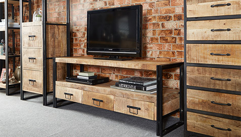 Onawa vintage industrial style TV plasma Stand - Chest of drawers