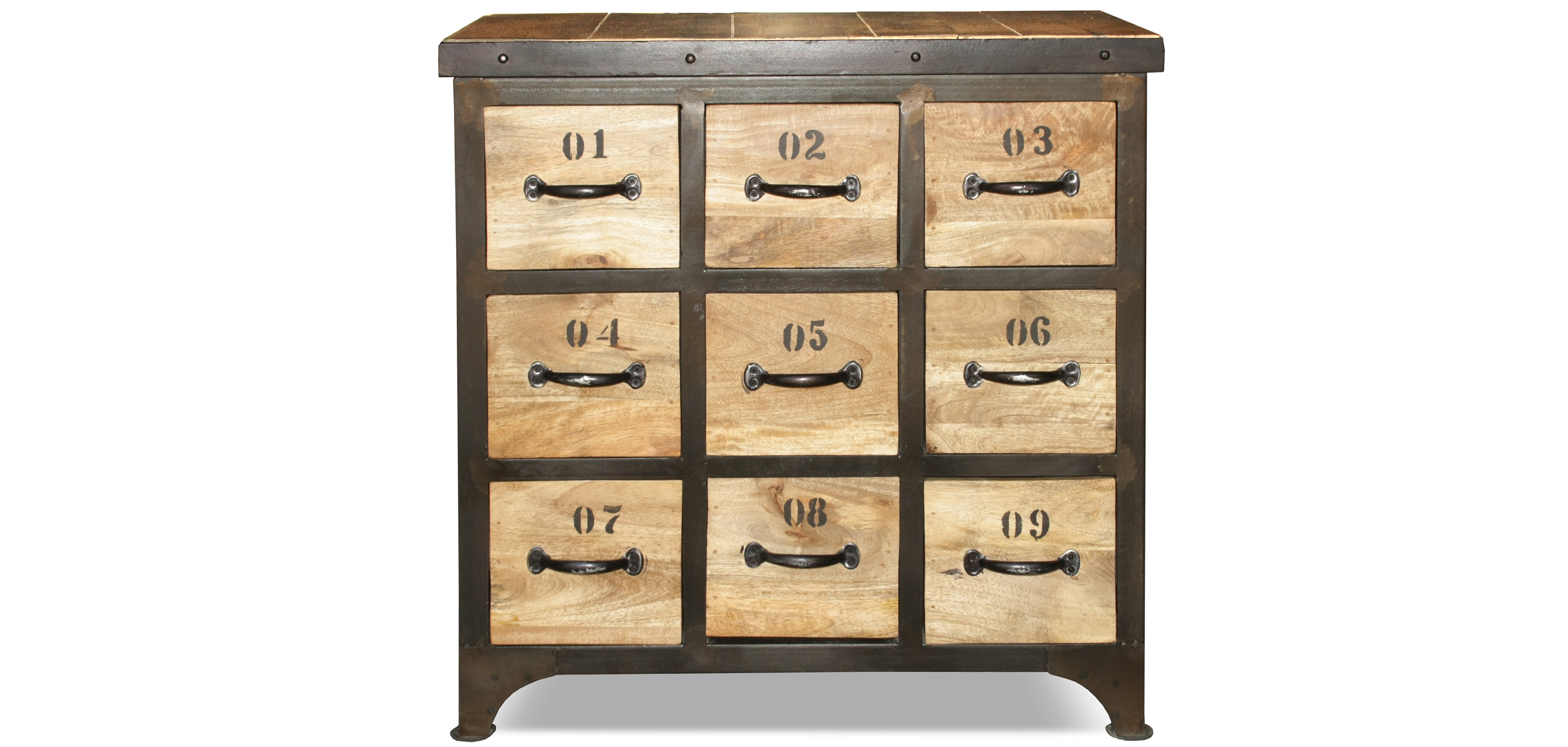 commode vintage industriel bois 9 tiroirs pas cher. Black Bedroom Furniture Sets. Home Design Ideas