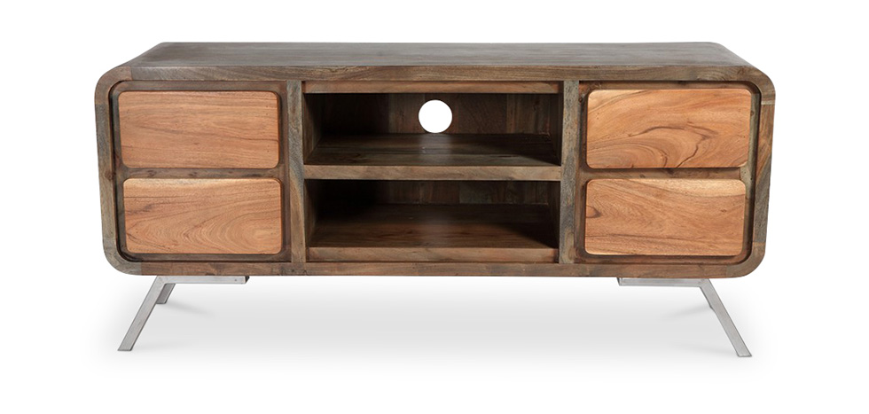 meuble tv en bois recycle style industriel jason pas cher. Black Bedroom Furniture Sets. Home Design Ideas