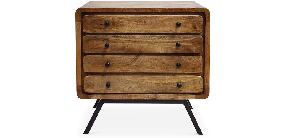 grande commode en bois recycle 4 tiroirs style industriel jason pas cher. Black Bedroom Furniture Sets. Home Design Ideas