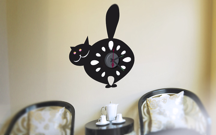 horloge murale sticker design chat pas cher. Black Bedroom Furniture Sets. Home Design Ideas