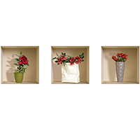 3 Stickers 3D Roses