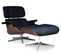 Lon Chair & Ottoman Cuero Premium - Nogal