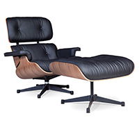 Long Chair & Ottoman Cuero Premium - Nogal - Patas negras