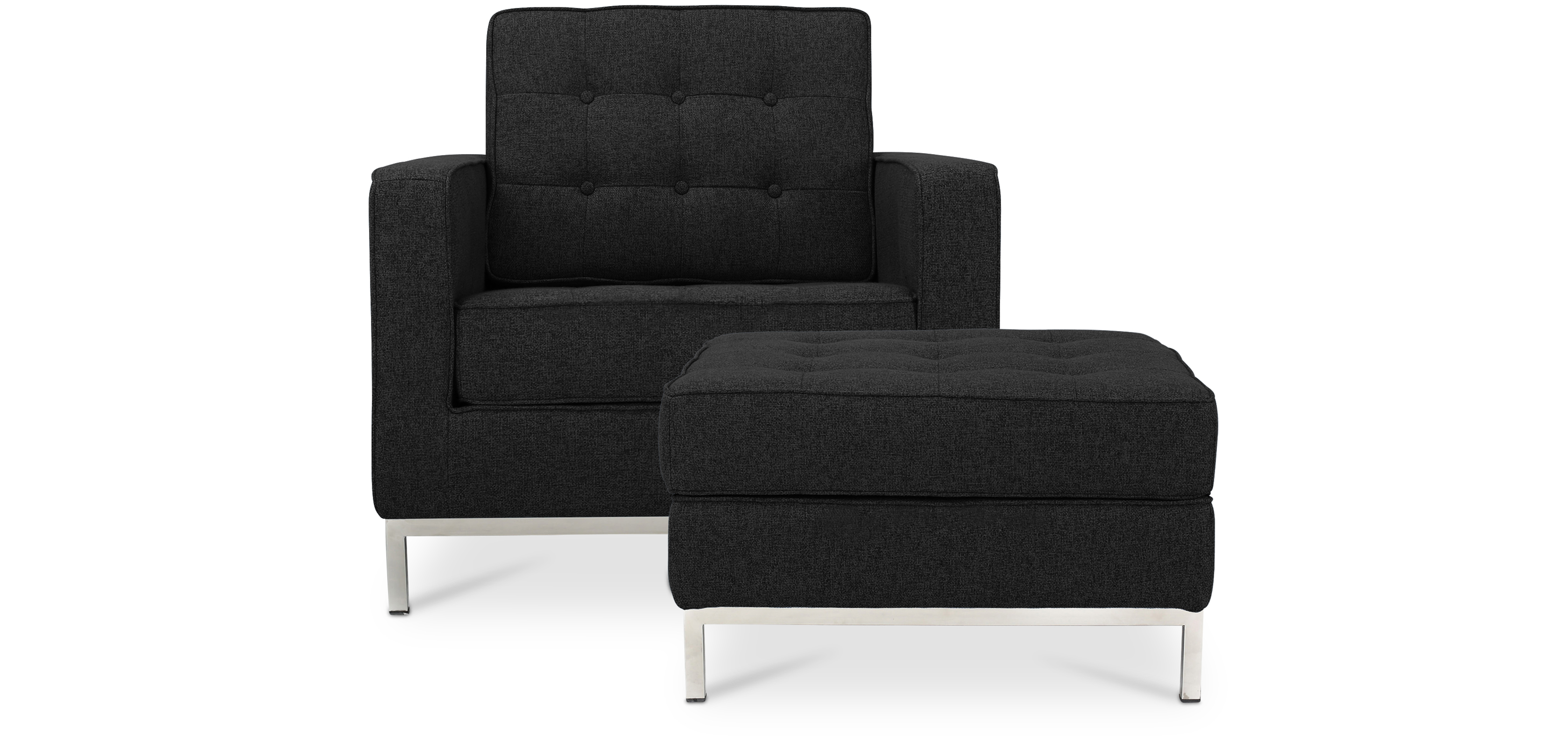 fauteuil knoll avec ottoman assorti style florence knoll. Black Bedroom Furniture Sets. Home Design Ideas