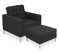 Fauteuil Knoll avec ottoman assorti - Style Florence Knoll - Cachemire