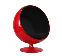Fauteuil Ball Chair Rouge Eero Aarnio Style - Tissu
