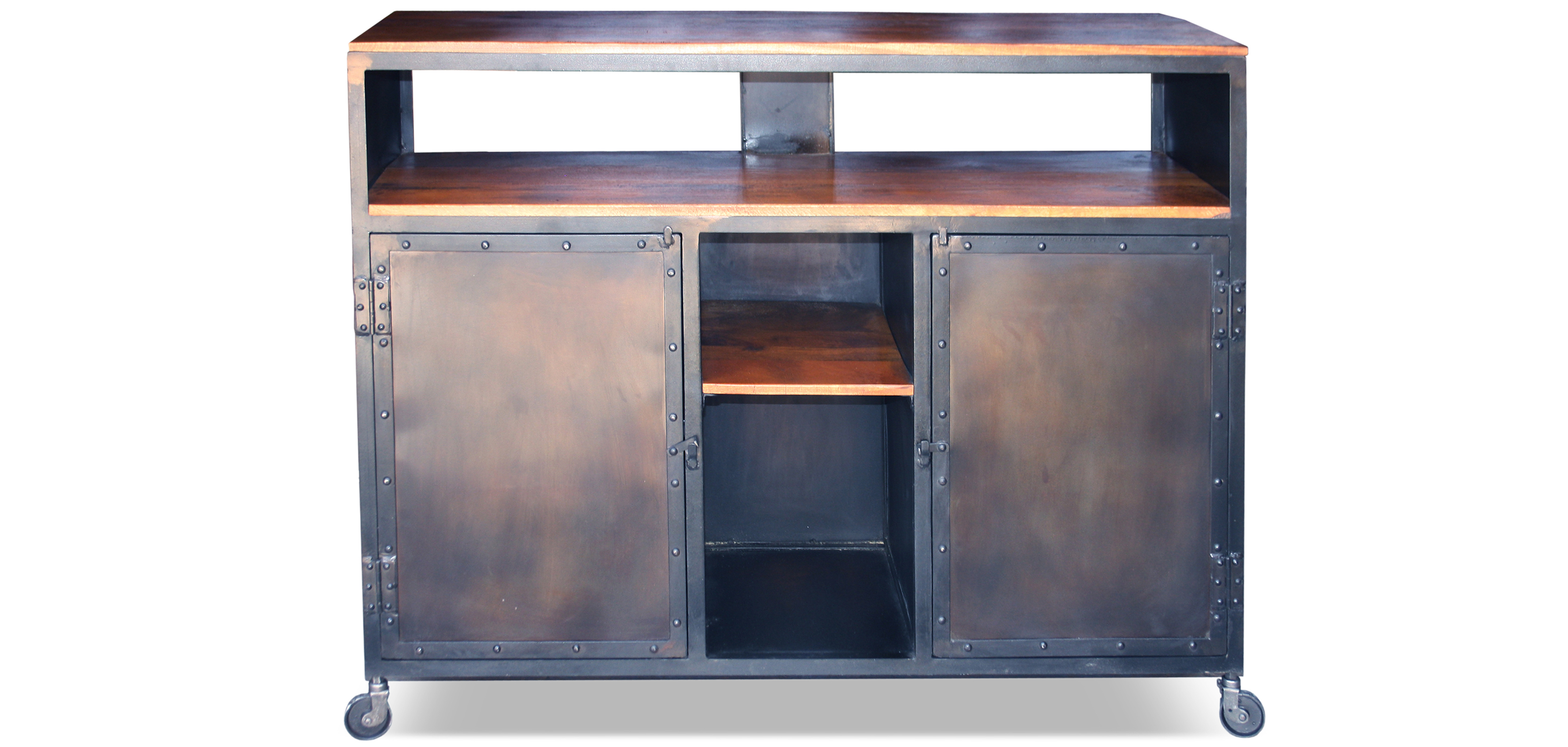 Vintage sideboard industrial steel and wood bar countertop for Meuble acier industriel