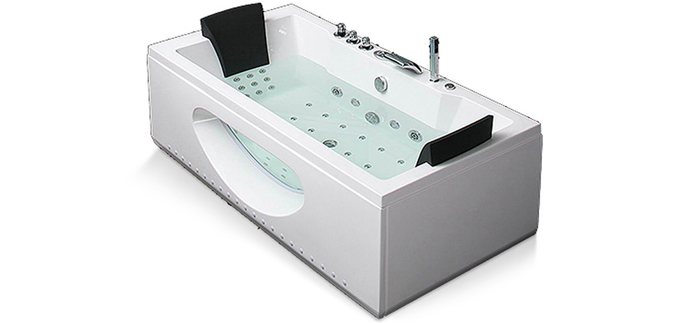 Baignoire baln o spa 38 jets guadeloupe rectangle for Salle de bain balneo