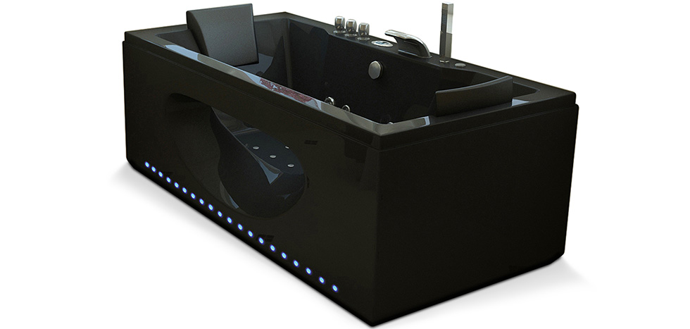 baignoire baln o spa 38 jets guadeloupe rectangle noire. Black Bedroom Furniture Sets. Home Design Ideas