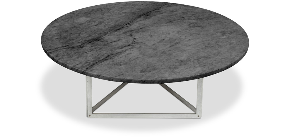 Pk56 coffee table round marble poul kjaerholm style for Table basse ronde industrielle