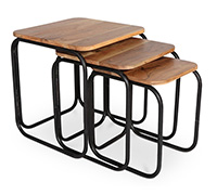 3 Tables basses superposables Style Industriel - Jason