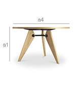 Gu ridon dining table jean prouv style wood dining tables for Table salle a manger jean nouvel