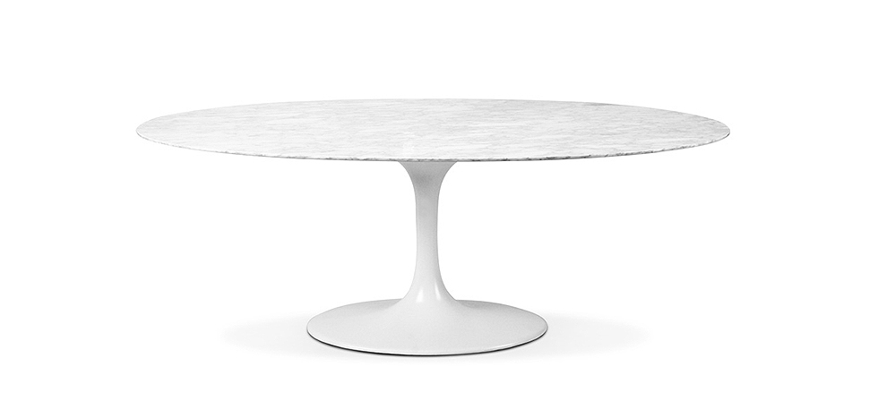Table tulipe eero saarinen style marbre 199 cm pas cher for Salle a manger table ovale