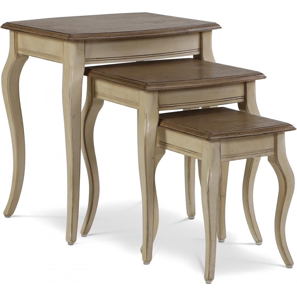 Set of 3 Square Antique Coffee Tables with Curved Legs - Wood Beige