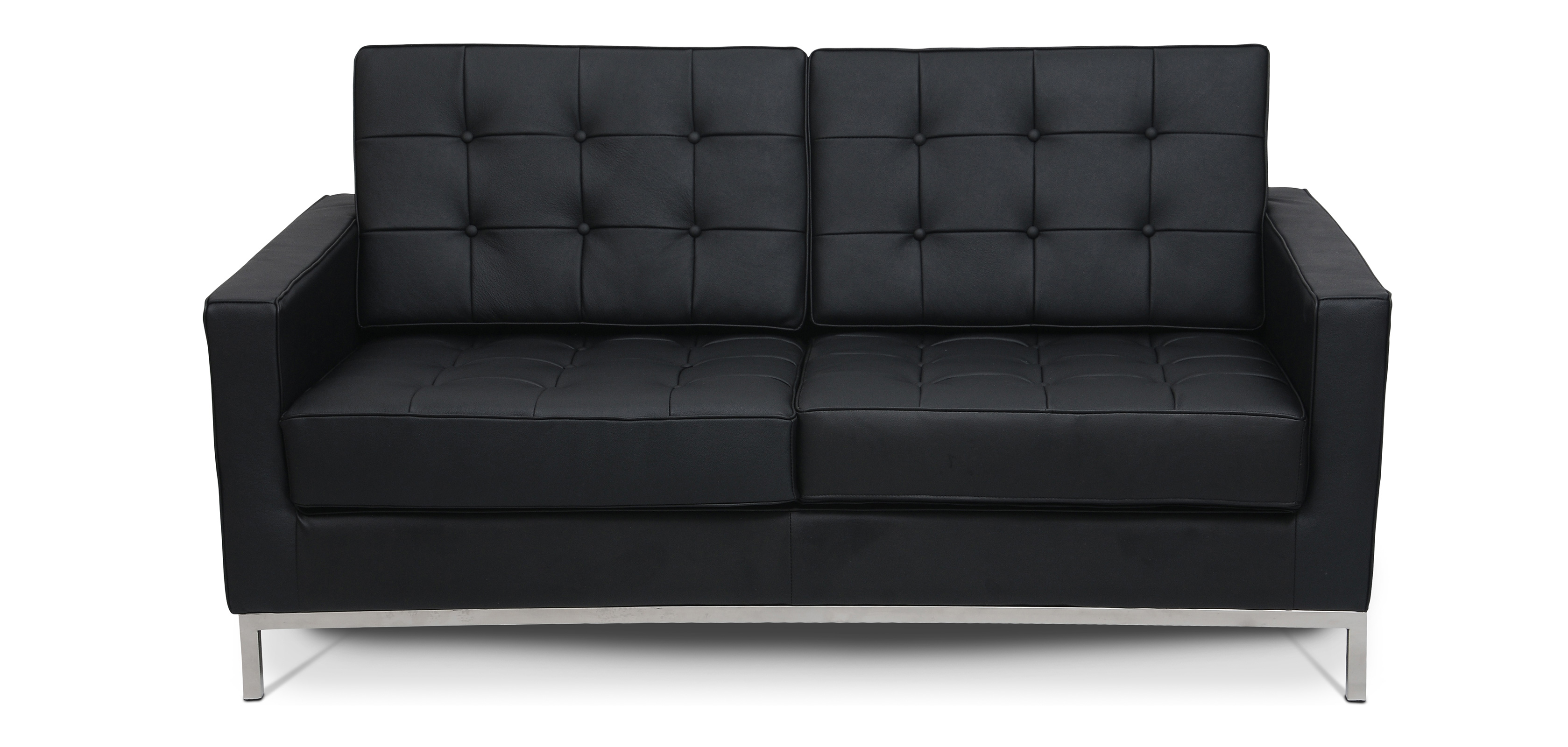 Design Sofa Florence Knoll style 2 seats Faux Leather 2