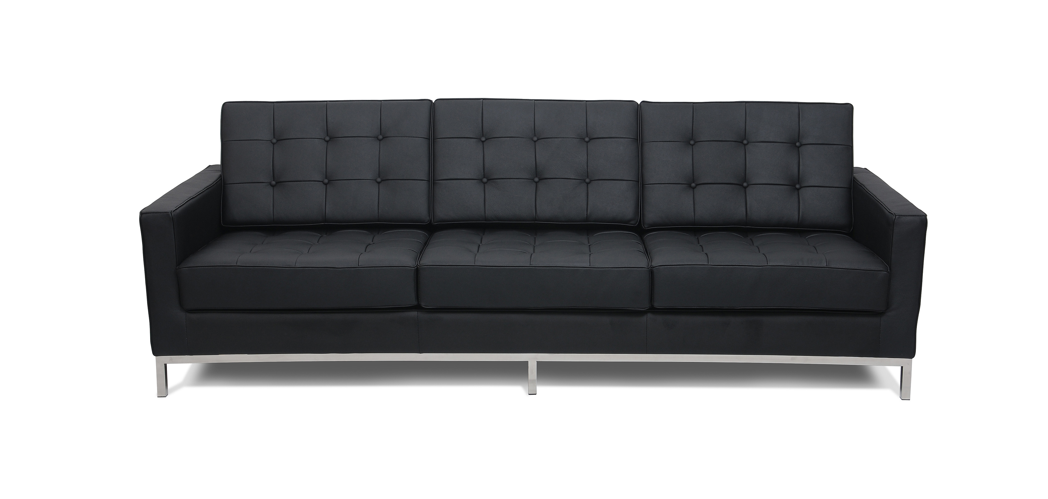 Design Sofa Florence Knoll style 3 seats Faux Leather 3